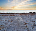 Walkpath at dusk wooden walk path on the sand Stock Photography