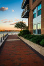 Walkway along the waterfront at Battery Wharf, in Boston, Massac Royalty Free Stock Photo