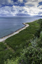 Walkway on the black sea shore town of balchik in bulgaria photo from height hill adjacent to track Stock Photo