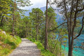 Walkway on the lakeside of eibsee nearby garmisch germany Stock Image