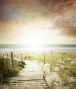 Walkway leading to beach scene Stock Photography