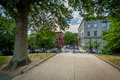 Walkway at Monument Square, on Bunker Hill, in Charlestown, Bost Royalty Free Stock Photo