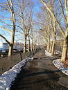 A walkway in Riverside Park Stock Photos