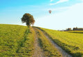 Walkway through rural landscape, hotair balloon Royalty Free Stock Photo
