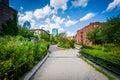 Walkway at Southwest Corridor Park in Back Bay, Boston, Massachu Royalty Free Stock Photo