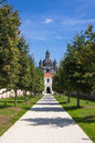 Walkway to the pazhayslissky monastery kaunas lithuania Royalty Free Stock Photo