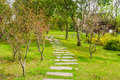 The walkway to a vintage Chinese pavilion in a garden Royalty Free Stock Photo