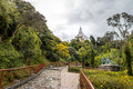 Walkway on top of Monserrate Hill with Monserrate Church on background - Bogota, Colombia Royalty Free Stock Photo