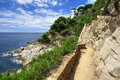 The walkway between Tossa de Mar and Lloret de Mar Stock Photography