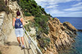 The walkway between Tossa de Mar and Lloret de Mar Royalty Free Stock Photo