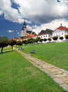 Walkway and towers of Kremnica castle Stock Photos