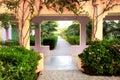 Walkway in a tropical garden Stock Photos