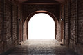 Walkway tunnel made by red brick and middle white isolated space Royalty Free Stock Photo
