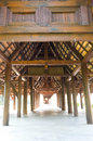 Walkway with wood pillar