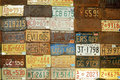 Wall of American License Plates Royalty Free Stock Images