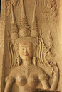 Wall bas-relief of Devata, Angkor Wat temple, Siem Reap, Cambodia Royalty Free Stock Photography