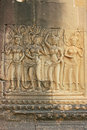 Wall bas-relief of Devatas, Angkor Wat temple Royalty Free Stock Photography