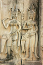 Wall bas-relief of Devatas, Angkor Wat temple Royalty Free Stock Photos