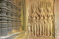 Wall bas-relief of Devatas, Angkor Wat temple, Siem Reap, Cambodia Stock Photography