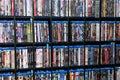 Wall of Blu Ray Movie Stock Photo