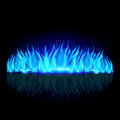 Wall of blue fire on black with weak reflection background Stock Photos