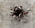 Wall break an explosion forces a hole in a concrete throwing pieces all around Royalty Free Stock Image