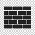 Wall brick icon in flat style on isolated background. W