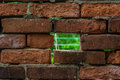 Wall of bricks hole in brick hole in Royalty Free Stock Image