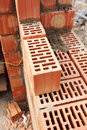 Wall building with professional bricks, construction site of new house. Royalty Free Stock Photo