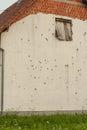 Wall with bullets holes, Croatia. Royalty Free Stock Photo