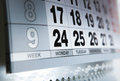 Wall calendar calendar with the number of days close up Royalty Free Stock Image