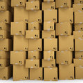 The wall of cardboard boxes render on a white background Stock Images