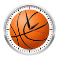 Wall clock basketball style illustration on white background Stock Photos