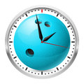 Wall clock bowling style illustration on white background for design Royalty Free Stock Photography