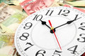 Wall clock and canadian dollars Royalty Free Stock Image