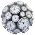 Wall clock concept with in form of sphere Royalty Free Stock Photography