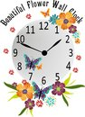 Wall clock florals butterflies in vector graphic design Stock Image
