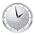 Wall clock golf style illustration on white background Stock Photo