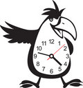 Wall clock parrot sticker. Vector illustration Stock Image