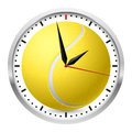 Wall clock tennis style illustration on white background Stock Image