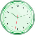 Wall clock vector green Vintage isolated on white Royalty Free Stock Image