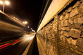 Wall cobble and road city street at night Royalty Free Stock Photos
