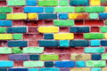 A wall with colored bricks Royalty Free Stock Photo