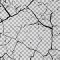 Wall cracks on transparent background. Fracture surface ground, cleft broken collapse illustration