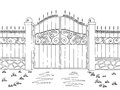 Wall fence gate graphic black white landscape sketch illustration
