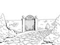 Wall fence gate landscape graphic black white sketch illustration