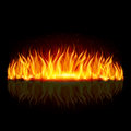 Wall of fire on black with weak reflection background Royalty Free Stock Photography