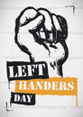 Wall with a Fist in Stencil Style for Left-handers Day, Vector Illustration