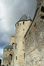 Wall of fortress a carcassonne in the south france Royalty Free Stock Images