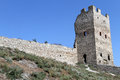 Wall and fortress tower of in feodosia crimea ukraina Royalty Free Stock Photography